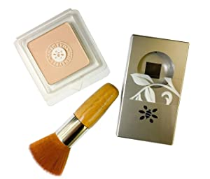 Honeybee Gardens First Step to Flawless Foundation Powder, Compact, Brush Set featuring Supernatural (Light Complexion)