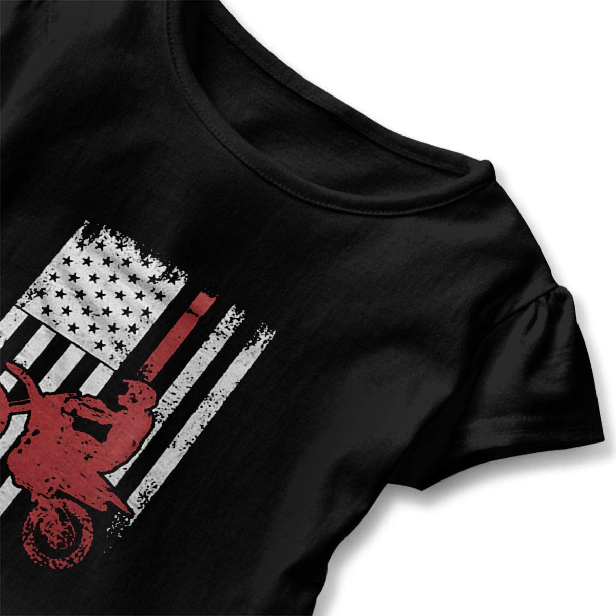 Cheng Jian Bo USA Flag Dirtbike Motocross Toddler Girls T Shirt Kids Cotton Short Sleeve Ruffle Tee