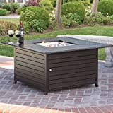 Best Choice Products BCP Extruded Aluminum Gas Outdoor Fire Pit Table With Cover