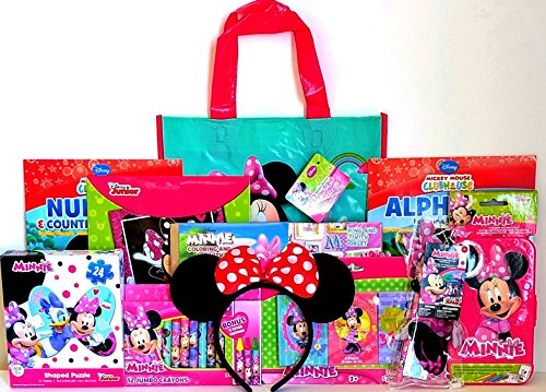 Disney Minnie Mouse Coloring & Activity Gift Set with Reusable Minnie Mouse Tote Bag, Minnie Mouse Ears, Coloring Book, Crayons & More! (Christmas Baskets Houston)