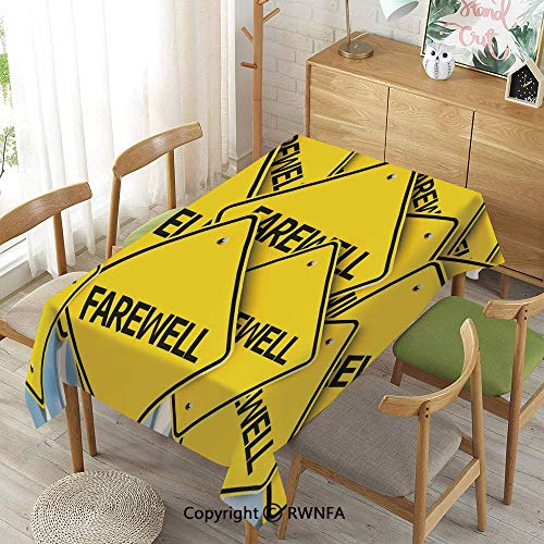 Tablecloth for Dining Room for Rectangle Tables,Multiple Road Signs with Text Farewell Journey Holiday,Machine Washable,Yellow Black White,52