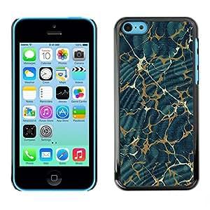 FECELL CITY // Duro Aluminio Pegatina PC Caso decorativo Funda Carcasa de Protección para Apple Iphone 5C // Texture Pattern Gold Abstract Blue