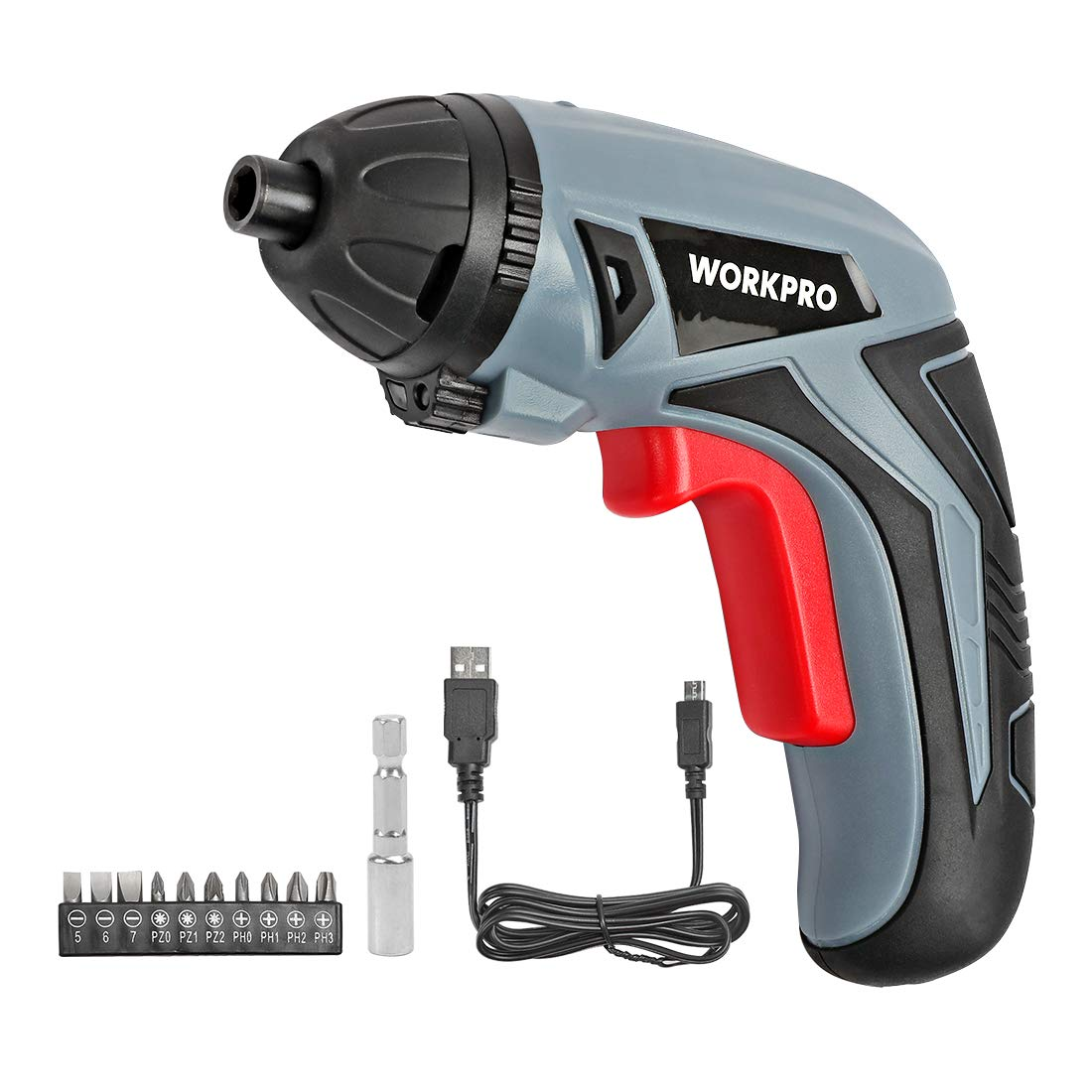WORKPRO Cordless Rechargeable Screwdriver, Powered by 3.6V Li-ion Battery, USB Charging Cable and 10-piece Bits Included