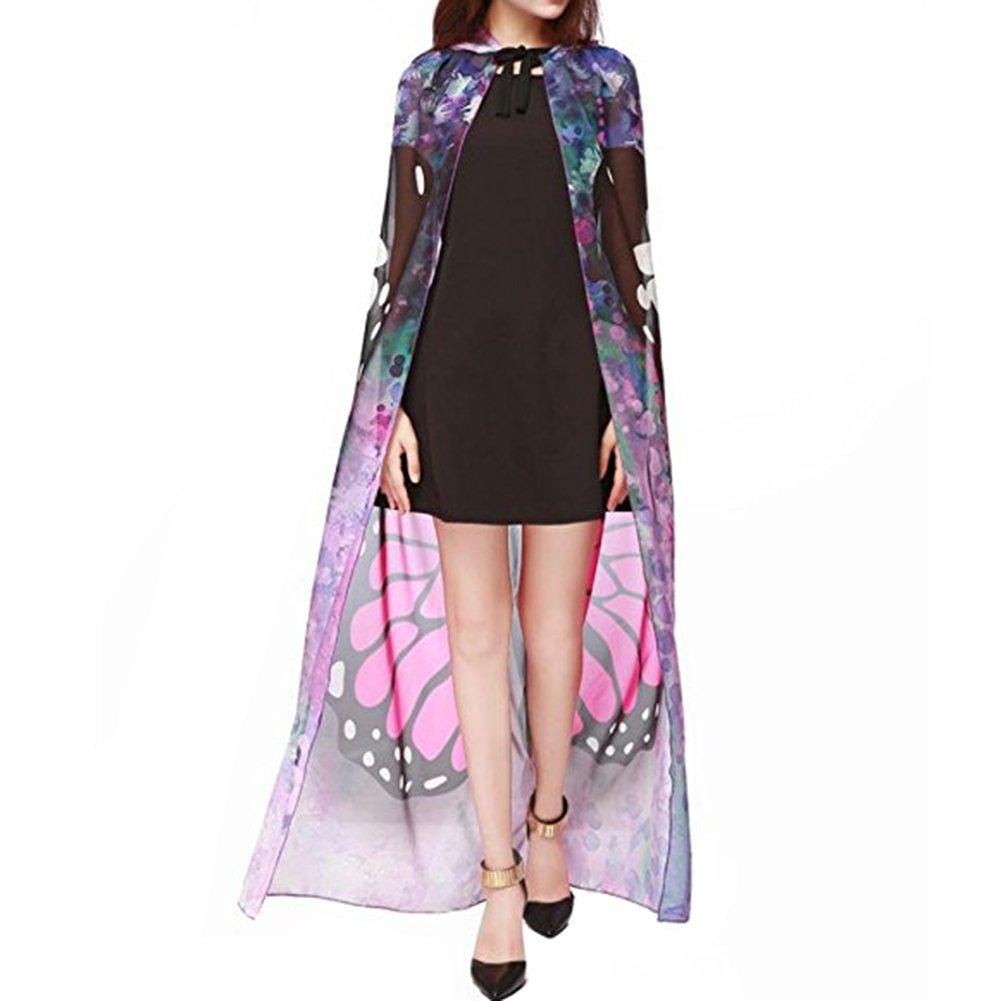 54b82c39d64 Amazon.com  Etaclover Halloween Costume Party Cloak Chiffon Lithe Fairy  Cosplay Shawl Cape - Peacock Butterfly Jack-O Lantern  Clothing