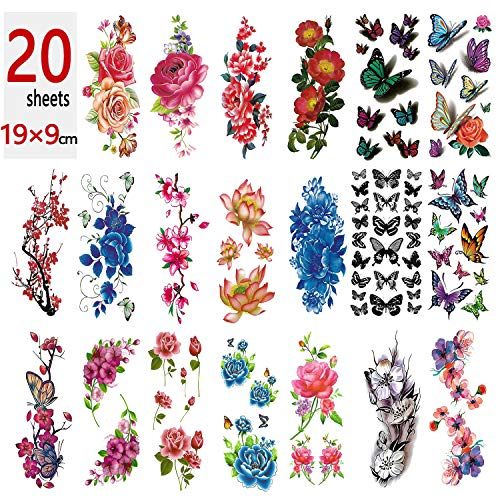 - 20 Large Sheets Flower Temporary Tattoos Stickers, Mixed Style Body Art Temporary Tattoos for Women, Girls or Kids, 90×190mm