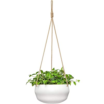 Mkono 8 Inch Ceramic Hanging Planter for Indoor Plants Modern Outdoor Porcelain Hanging Plant Holder Geometric Flower Pot with Polyester Rope Hanger for Herbs Ferns Ivy, White: Garden & Outdoor
