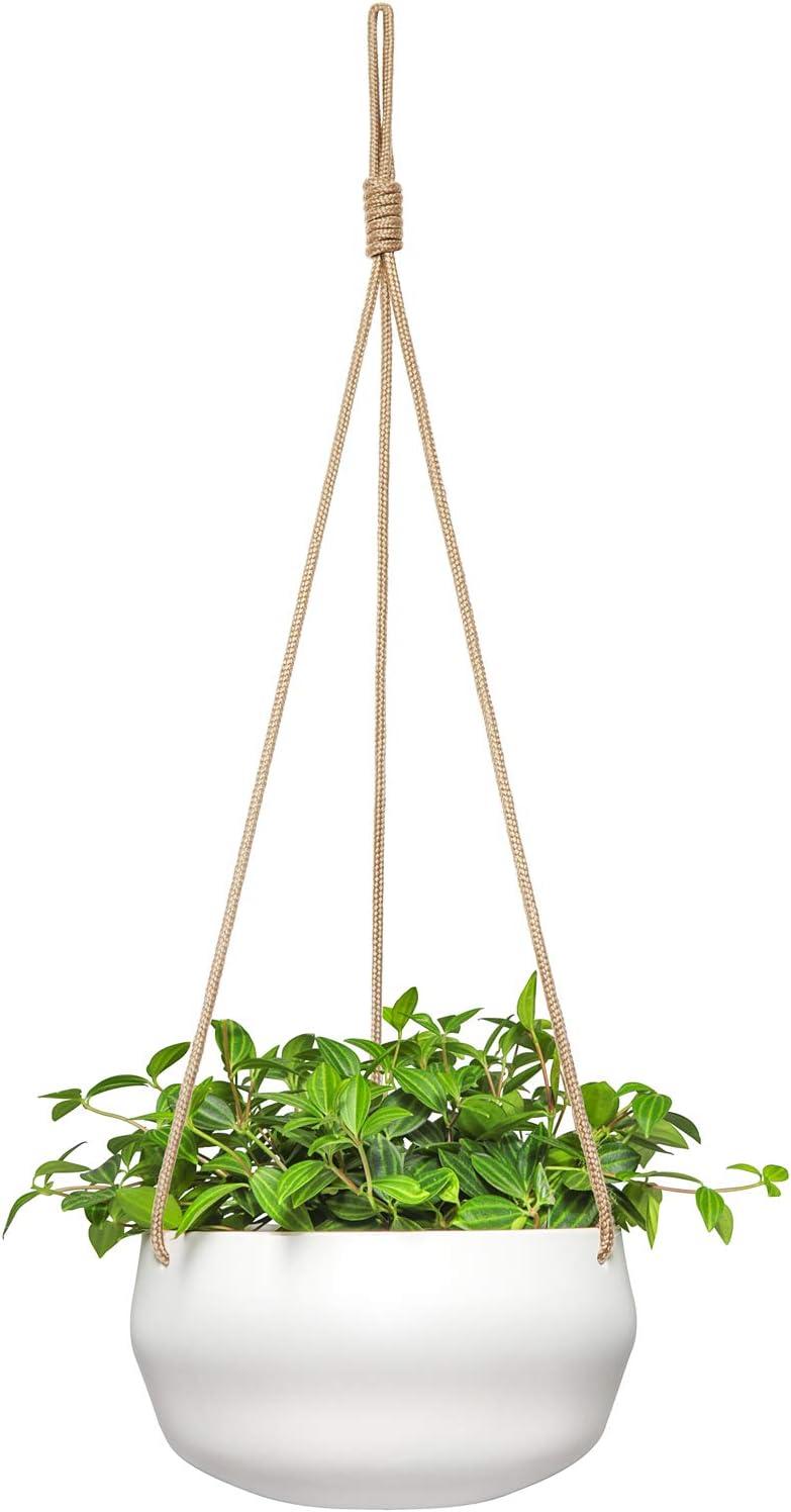 Mkono moderne en céramique Pot de fleurs à suspendre pour plantes en intérieur en porcelaine à suspendre pour plantes support 20,3cm géométrique Pot de fleurs avec corde de jute, Blanc