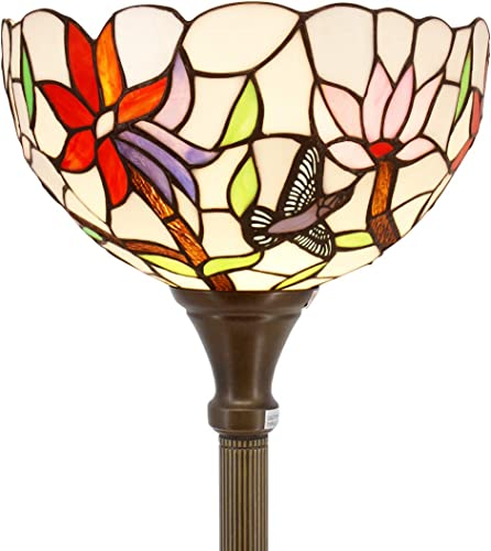 Tiffany Floor Lamp Torchiere Up Lighting W12H66 Inch Stained Glass Hummingbird Lampshade Antique Standing Iron Base 1E26 Foot Switch S801 WERFACTORY Lamps Living Room Bedroom Home Office Decoration
