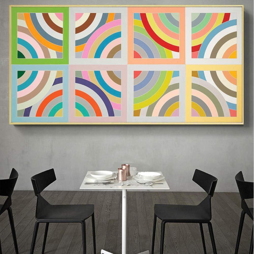 N / A Cuadro en Lienzo Arte Abstracto Colorido círculo póster e impresión Imagen Decorativa para jardín de Infantes decoración de la habitación sin Marco 30x60 cm