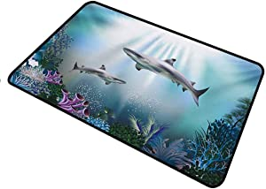 shirlyhome Doormat Underwater for Outdoor Entrance Realistic Illustration Wild Sharks and Plants Corals Seaweed Aquatic Ocean Life Rectangle 30 x 40 inch Multicolor
