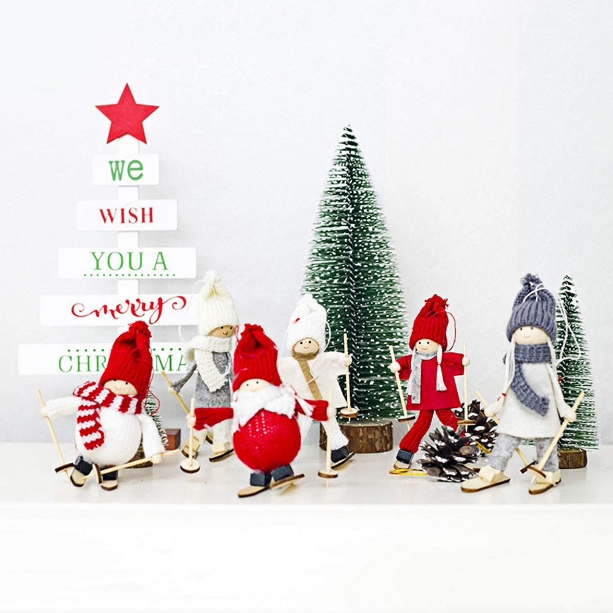 Mini Christmas Ornaments Skiing Snowman Doll Xmas Tree Hanging Decor For Home Bar Shop Gift Christmas Collection Color 5 Amazon Co Uk Kitchen Home