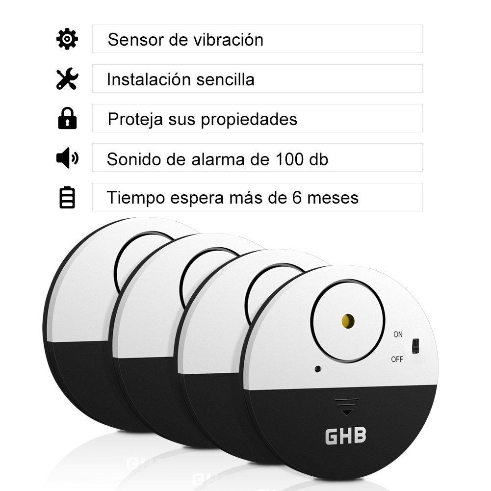 GHB 4PCS Alarma Sensor de Vibración 100dB Sistema de Alarma de Seguridad para Ventana Puerta de Hogar: Amazon.es: Bricolaje y herramientas
