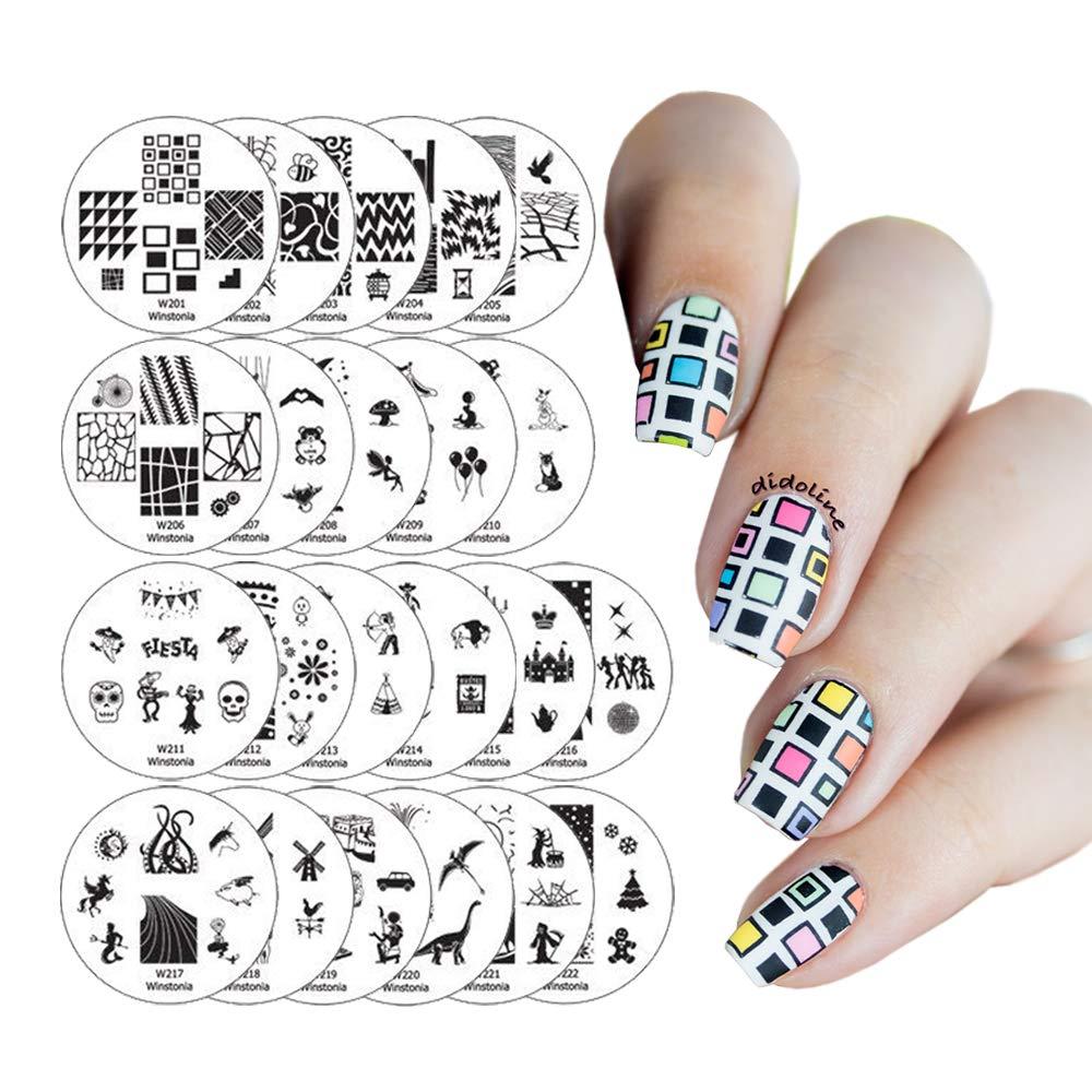 Amazon.com : Winstonia 20 pc Nail Art Stamp Stamping Image Plate Set ...