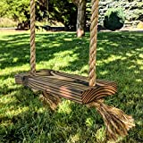 Outdoor Wooden Tree Swing for Kids, Toddler - Farmhouse Style - Thick Rope for Hanging - 16 inch Wide Wood Seat (12 inches between ropes) - Made in Oregon