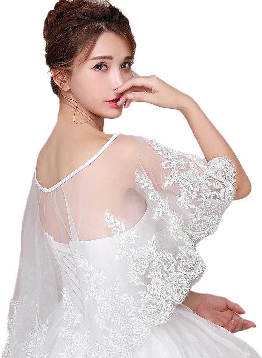 Lace Wedding Wrap Shrug Shawls Stole Boleros Bridal Tulle Cape PJ14
