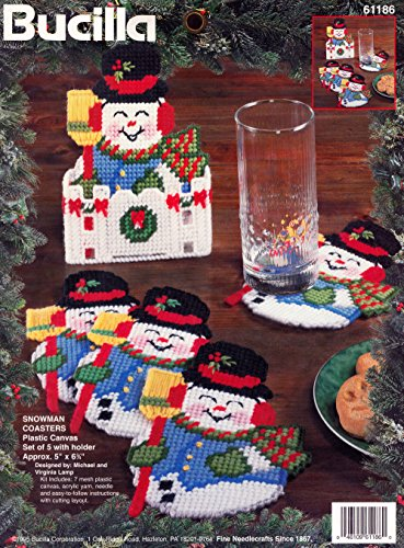 Bucilla Kits  Snowman Plasttic  Canvas Coaster Kit