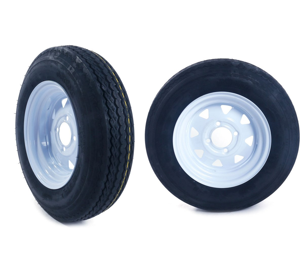 Set of 2 12 4 Lug White Bias Trailer Wheels /& Rims 5.30-12 Tire Mounted bolt circle 4x4