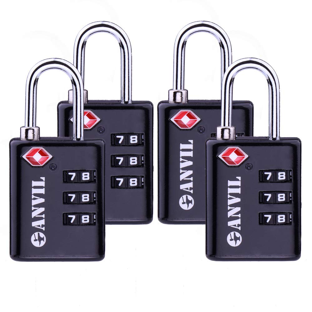 TSA Approved Luggage Locks Durable Travel Lock with Inspection Indicator and 3 Digit Re-Settable Combination