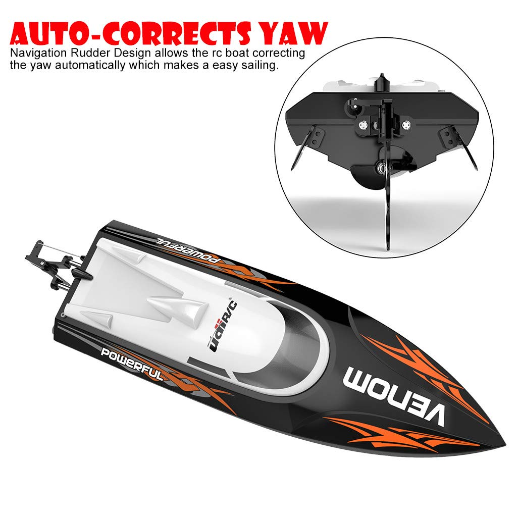 ✈Shipping from The United States✈RC Boat RC Boats for Adults RC Racing Boat High Speed Radio Electronic Remote Control Boat For Kids Black Pools and Lakes Boat Pool Alarm Toy Boat Drone (Black) by DICPOLIA (Image #2)