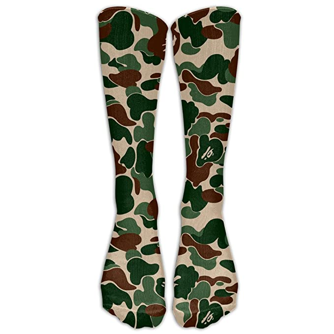 buy online 2fdd3 7351b Amazon.com  Aniaml Bape Camouflage Green Compression Socks For Mens    Womens Unisex Comfortable Stockings For Sports  Clothing
