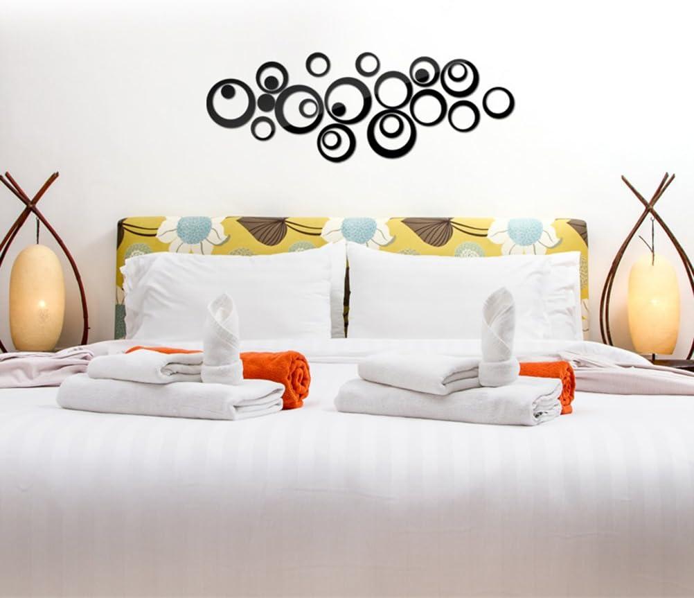 WINOMO Cercles miroir mural Sticker 3D amovibles acrylique autocollant pour Salon Chambre Salle de bains D/écoration Noir
