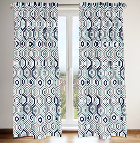 LJ Home Fashions 433 Tilly Geometric Print Hidden Tab Top Curtain Panels (Set of 2) 54