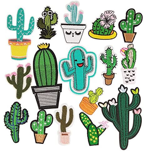Libiline Kid Embroidered Patch Cactus Sew On//Iron On Patch Applique Clothes Dress Plant Hat Jeans Sewing Flowers Applique DIY Accessory Cactus