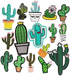 Millya DIY Embroidered Sew Iron On Patches Cute Mixed Cactus Shaped Patch Badge Craft Fabrics Appliques for Clothes Hat Shoes Jeans Bag,Pack of 18
