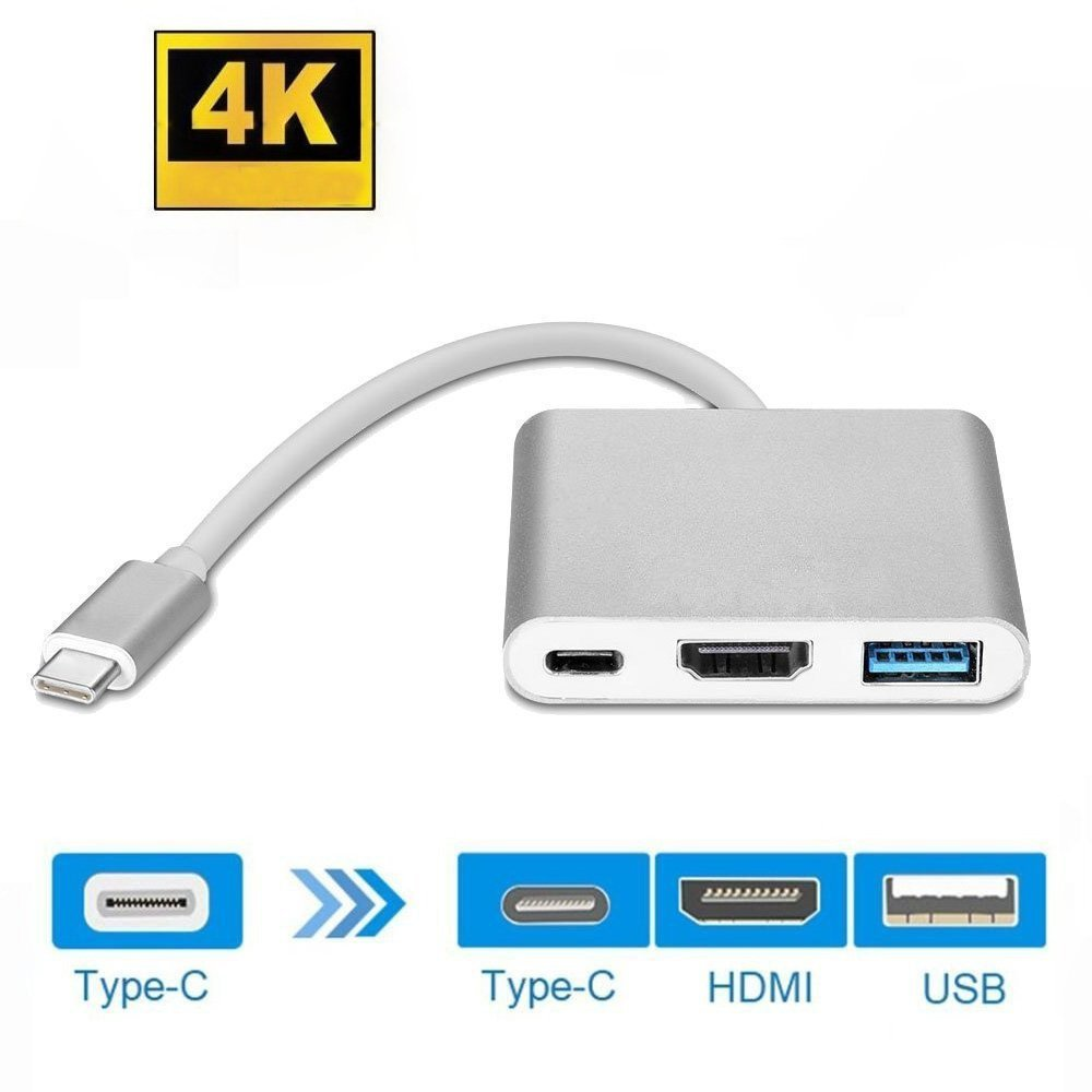 USB C to HDMI 4K Adapter, Honfeng Type C to HDMI Multiport AV Converter 3-in-1 with USB 3.0 Port & USB C Recharging Port for Samsung Galaxy s8/s8 Plus, MacBook Series, ChromeBook Pixel (Sliver) by Honfeng