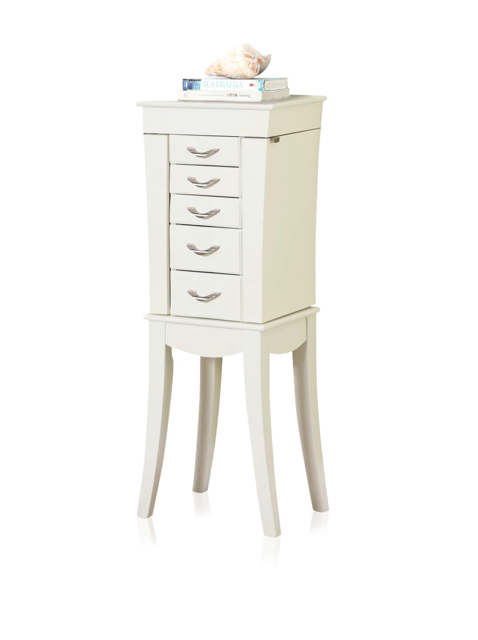 Nathan Direct Eiffel Tower 5 Drawer Jewelry Armoire with 2 Side Compartments and a Lift-Top Compartment with Mirror and Ring Holders, White