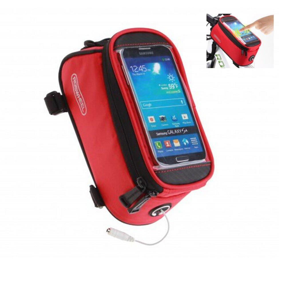 ロードマウンテンバイクバッグパニエクラシックROSWHEELミニサイクリング自転車フロントチューブバッグメンズレディースfor iPhone 4 5 6 7 Plus 8 8plus X Samsung Huawei、S M L B074NW76GN L for less 5.7