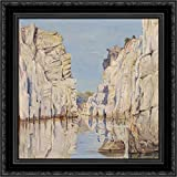 Marble Rocks, Jabalpur, Madhya Pradesh, India 20x20 Black Ornate Wood Framed Canvas Art by North, Marianne