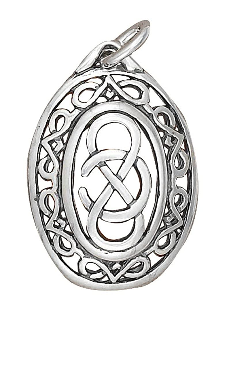 Sterling Silver Girls .8mm Box Chain Oval Celtic Infinity Knot Pendant Necklace