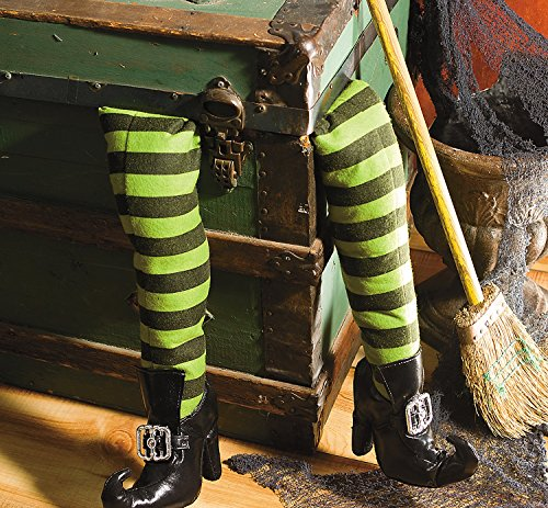 Deluxe Plush Witch Legs Green and Black with Shoes Great Halloween Decor -
