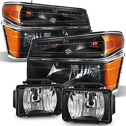 2004-2012 Chevy Colorado GMC Canyon | 06-08 Isuzu Pickup Truck Black Headlights +Black Fog Light Lamp