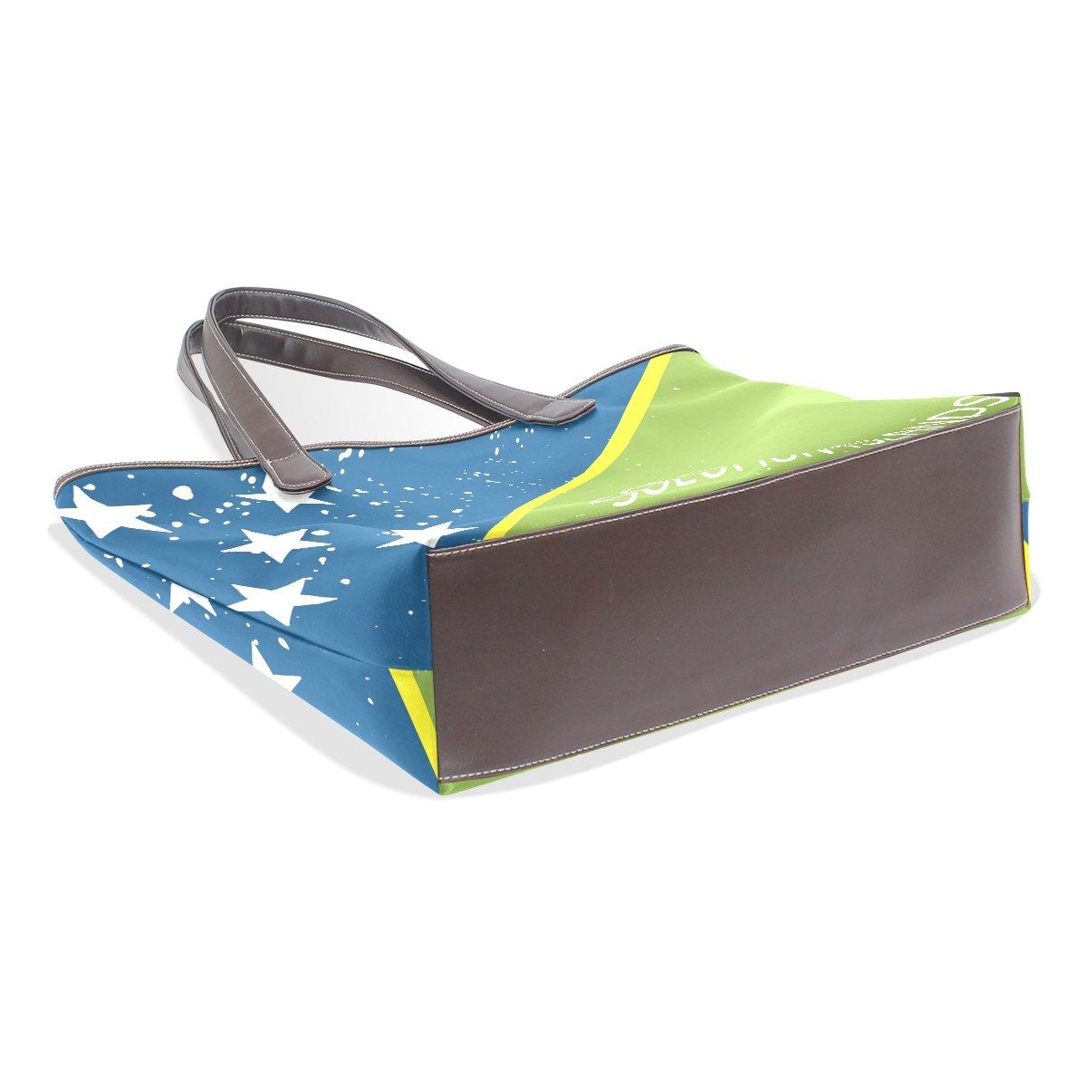 Distressed Solomon Islands Flag Womens Fashion Large Shoulder Bag Handbag Tote Purse for Lady