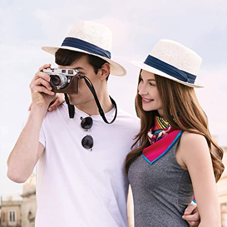 e356a9ae YNSHOP Cowboy Hats Men's straw hat summer travel sun hat beach hat England  white hat vacation travel hat couple dating cap (Color : White): Amazon.co. uk: ...