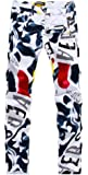 Allonly Men's Fashion Casual Slim Fit Straight Leg Painted Letters Printed Jeans Pants