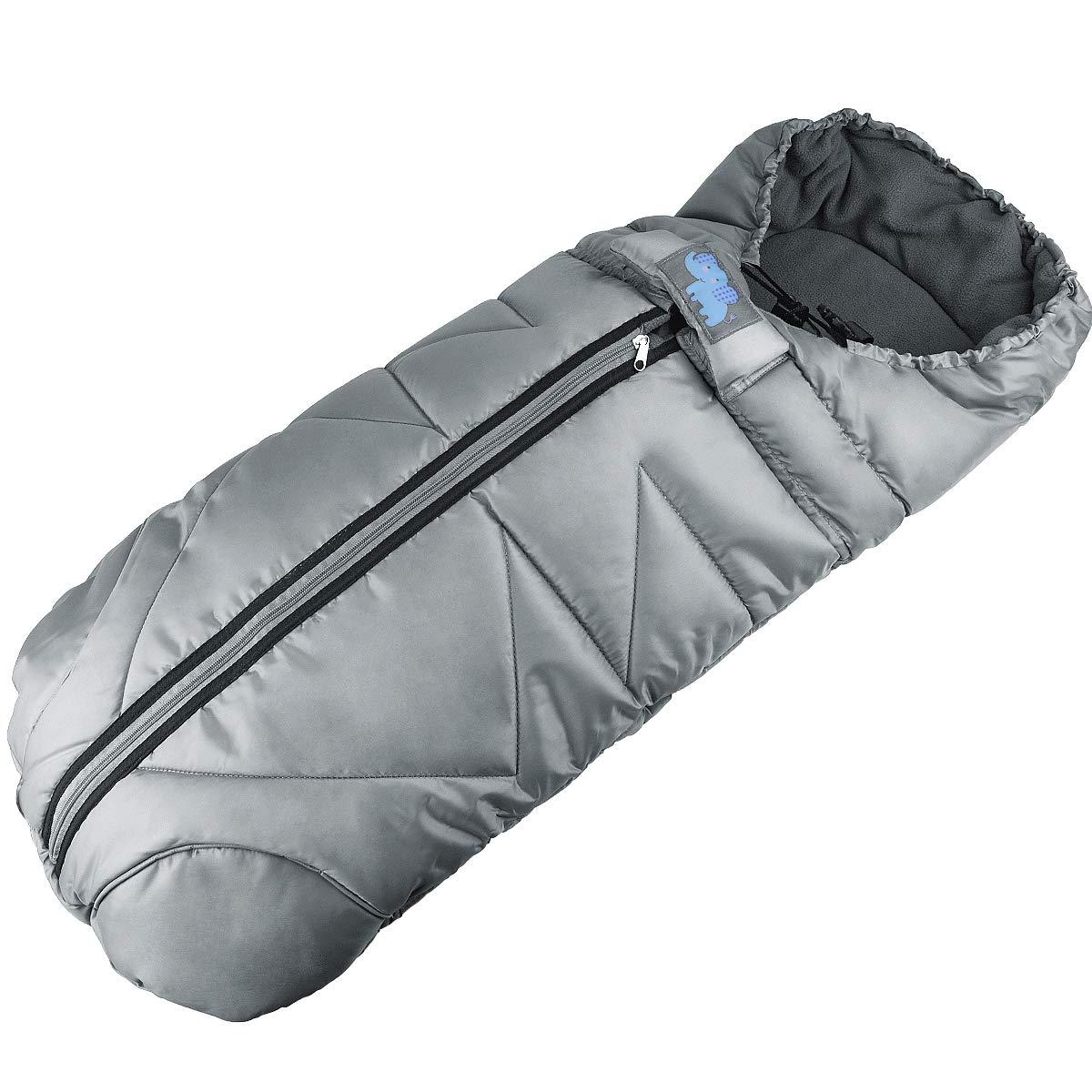 Baby Stroller Sleeping Bag, Waterproof Infant Universal Warm Footmuff Sack, Wearable Stroller Blanket (Grey)