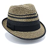 1 3/4'' Wide Brim Panama Roll Up Fedora Sun Hat Beach Cap With Band (A-Black)