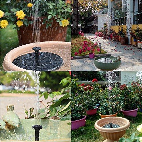MADETEC Solar Birdbath Fountain Pump, 1.4W Solar Outdoor Water Fountain Panel Kit for Bird Bath,Small Pond,Garden and Lawn