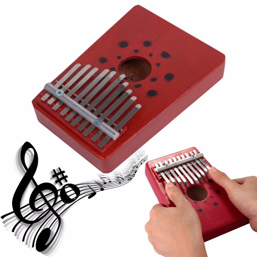 Rosso Pollice pianoforte Everesta Professional Portable 10 Key Kalimba Mbira piano strumento musicale per Music Lover e principianti