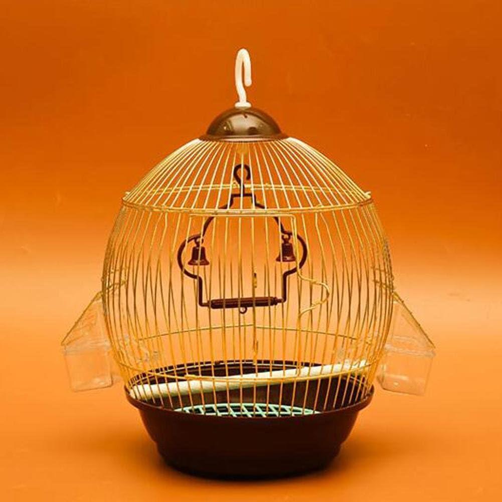JiaYue Luxury100 De Alta Temperatura De Cromo Enchapado Metal Jaulas para Pájaros De Oro Color Pequeño 23x37CM, Golden Color, 23x37CM