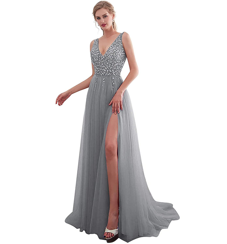 iLovewedding Prom Dresses High Slit V Neck Sequins Tulle Long Evening Gowns
