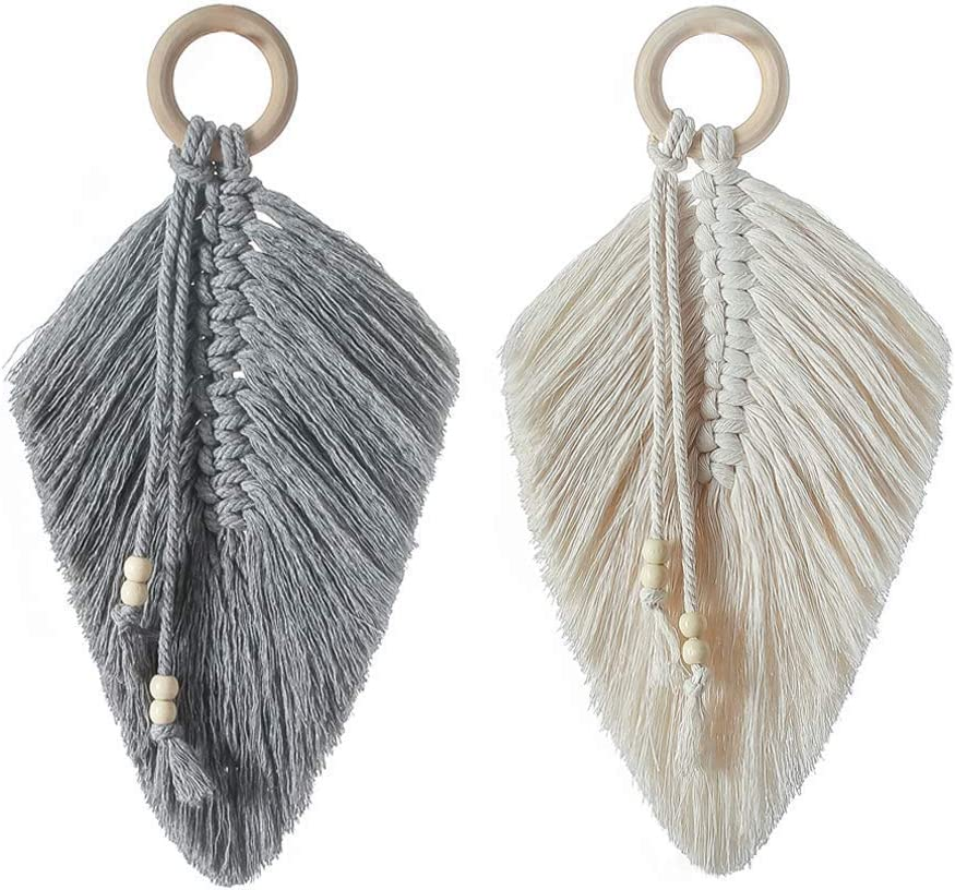 2 Pcs Macrame Wall Hanging Feather Boho Chic Woven Leaf ,100% Cotton, Boho Decor Cotton Macrame Cord Wall Art with Wooden Beads for Apartment Bedroom Living Room Gifts for Mom/Girl (Ivory B)