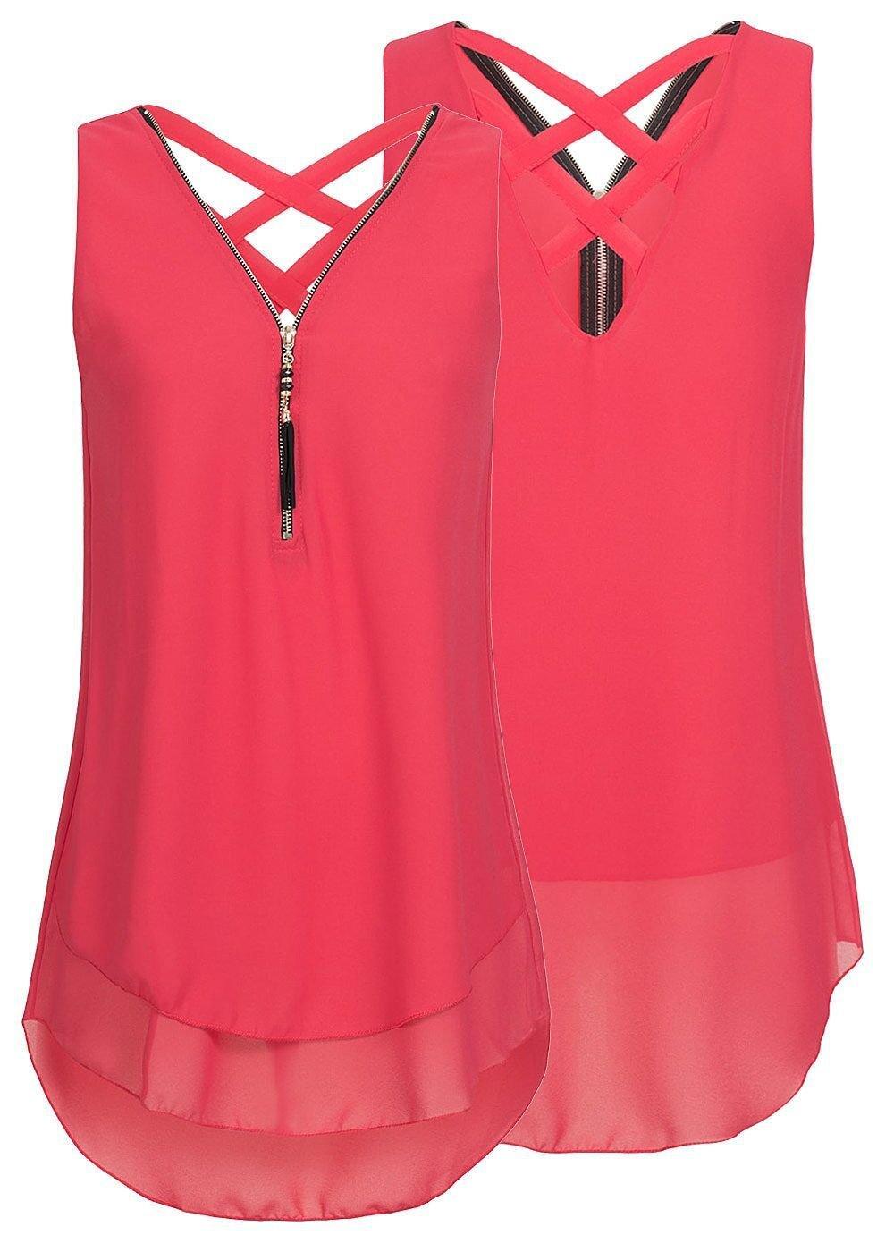 Yknktstc Womens Casual Sleeveless V Neck Chiffon Tank Top Crisscross Back Zipper Blouse T Shirt Small Style 2-Red