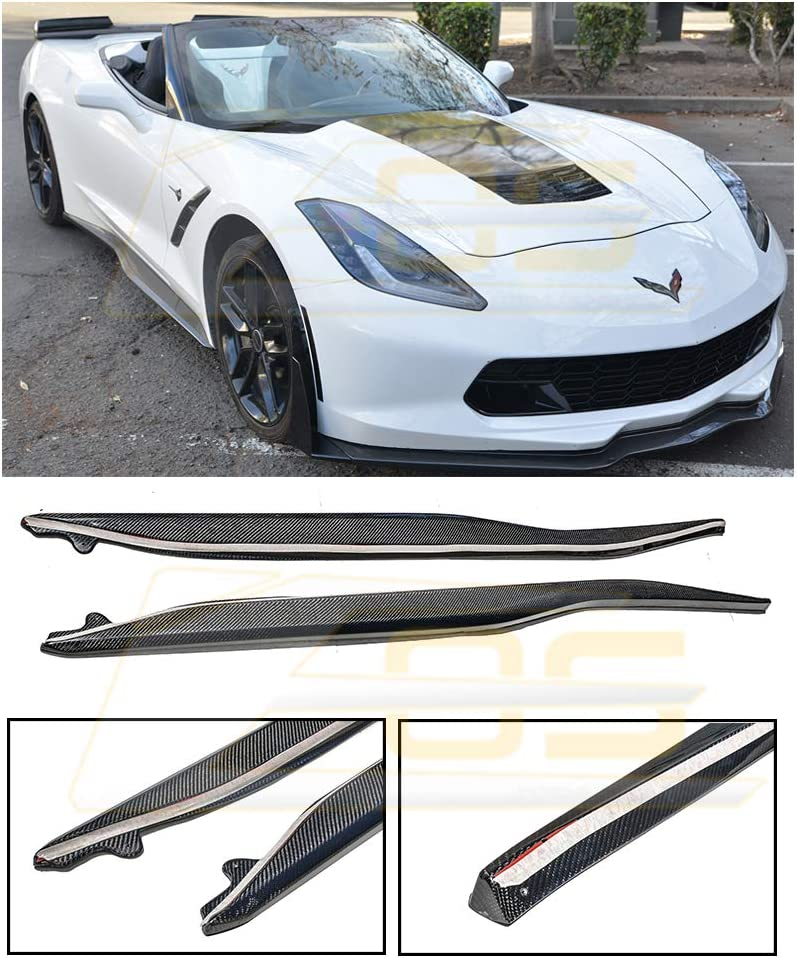 EOS Z06 Style ABS Plastic Primered Black Side Skirts Rocker Panels Extension for 2014-Present Chevrolet Corvette C7 All Models