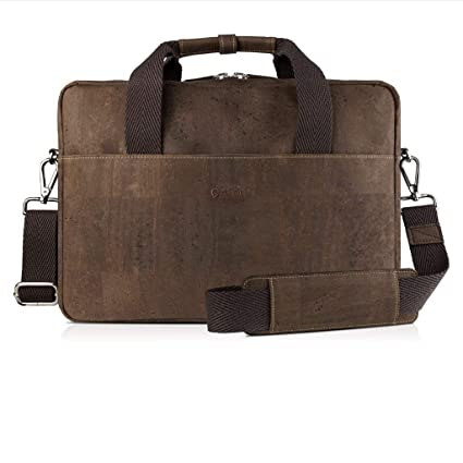 Brown vegan leather briefcase made of cork