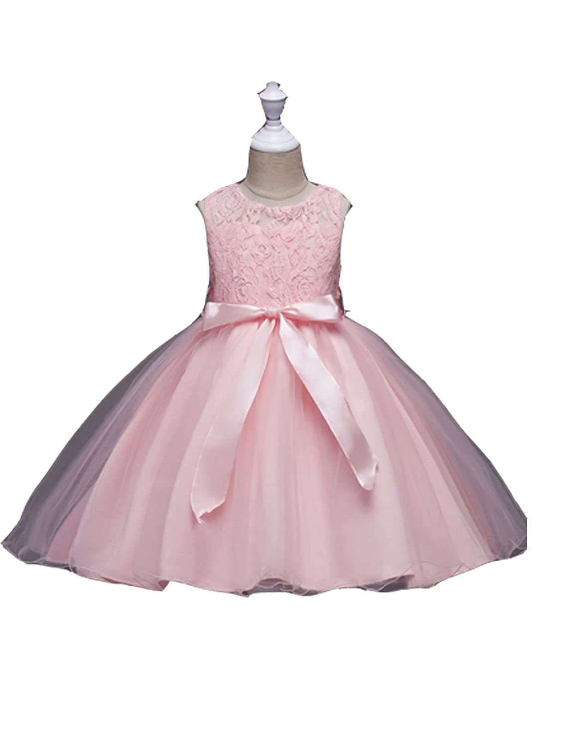Amazon.com  Sweetylife Lace Top Tulle Skirt Flower Girl Dress Grils Prom  Ball Pageant Drss With Sash Bow FD014  Clothing eff30222c