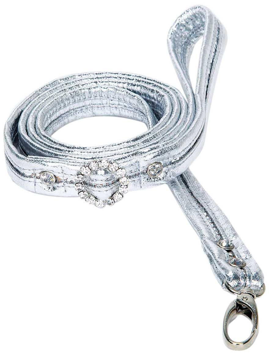 Hollywood Poochie Sequin Length Leash for Teacup and Toy Breeds, 2X-Small/X-Small, 4-Feet, Silver